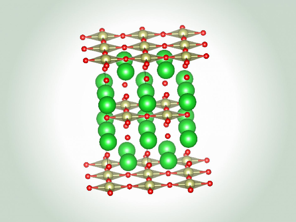 illustration of superconductor in green and red